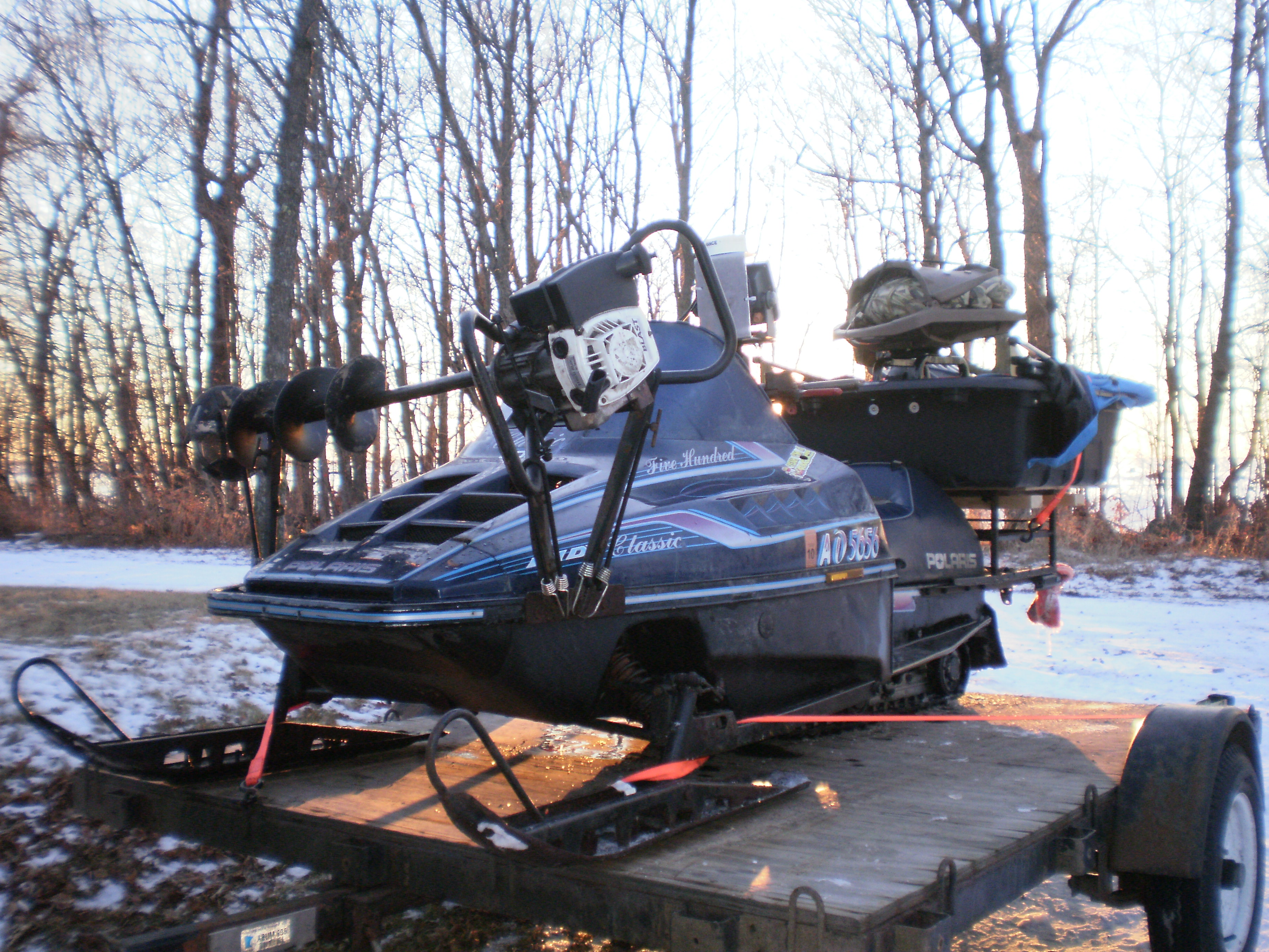 snowmobile rear rack cargo box ice fishing forum in