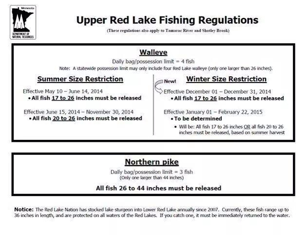 red lake regulations ice fishing forum in depth outdoors