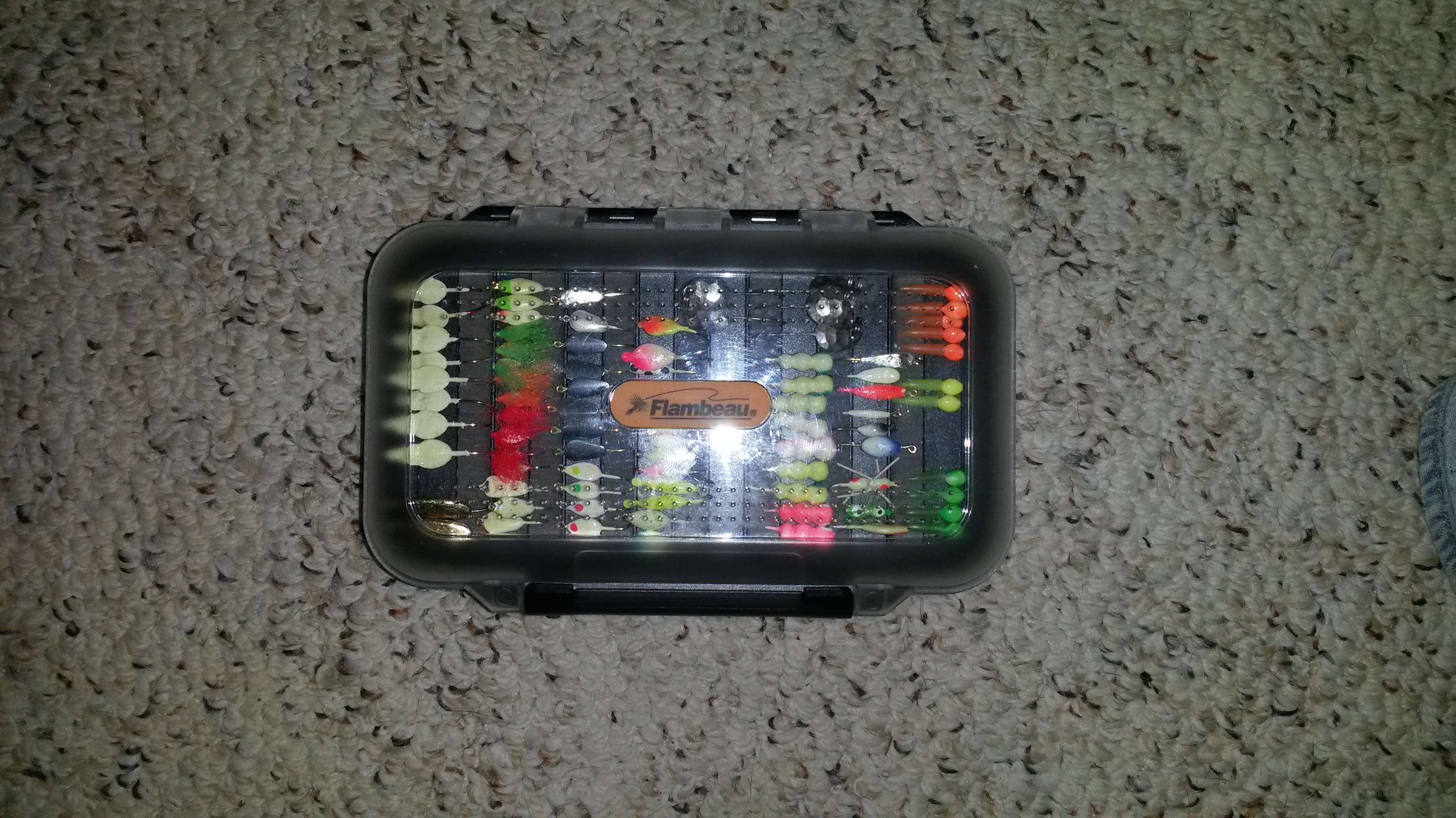 Lost ice fishing tackle box withj jigs cedar lake for Ice fishing tackle box