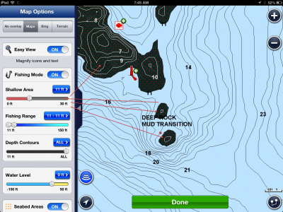 Cool features on the navionics app for ice fishing ice for Navionics fishing app